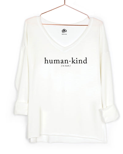 Human.Kind Be Both V-Neck Long Sleeve Tee