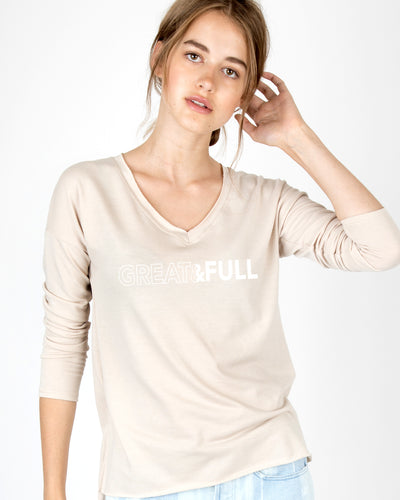 Great & Full V-Neck Long Sleeve Tee
