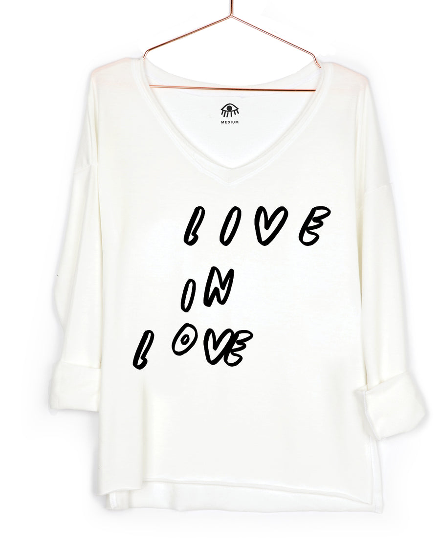 Live In Love V-Neck Long Sleeve Tee