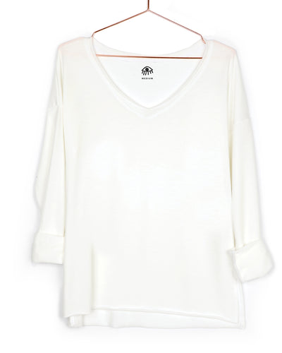Blank V-Neck Long Sleeve Tee