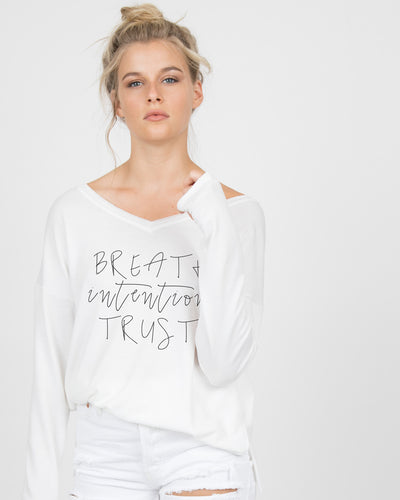 Breath intention trust V-Neck Long Sleeve Tee