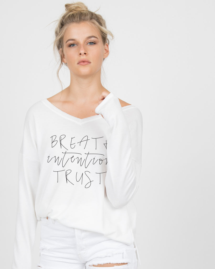 Breath intention trust Long Sleeve Tee