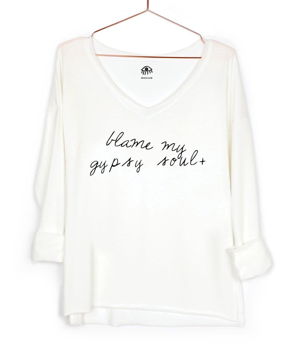 Blame my gypsy soul V-Neck Long Sleeve Tee