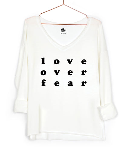 Love over fear V-Neck Long Sleeve Tee
