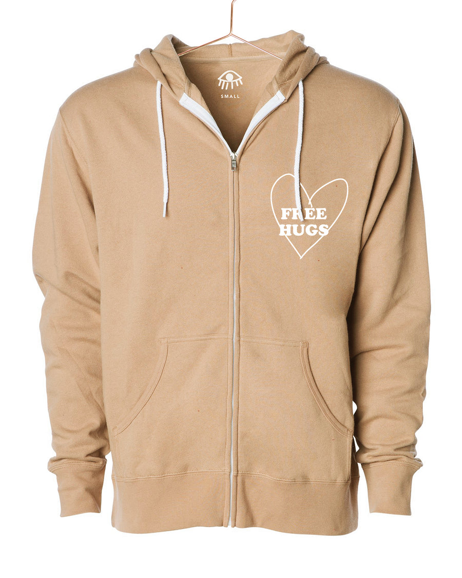 Free hugs Zip Up Hooded Sweater