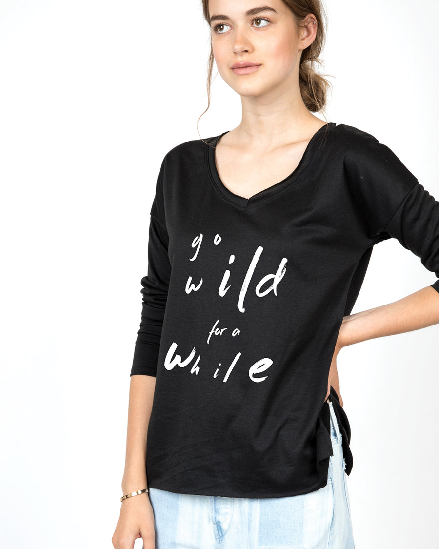 Go wild for a while V-Neck Long Sleeve Tee