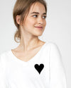 Golden heart V-Neck Long Sleeve Tee