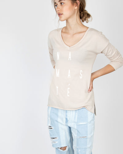 Namaste V-Neck Long Sleeve Tee