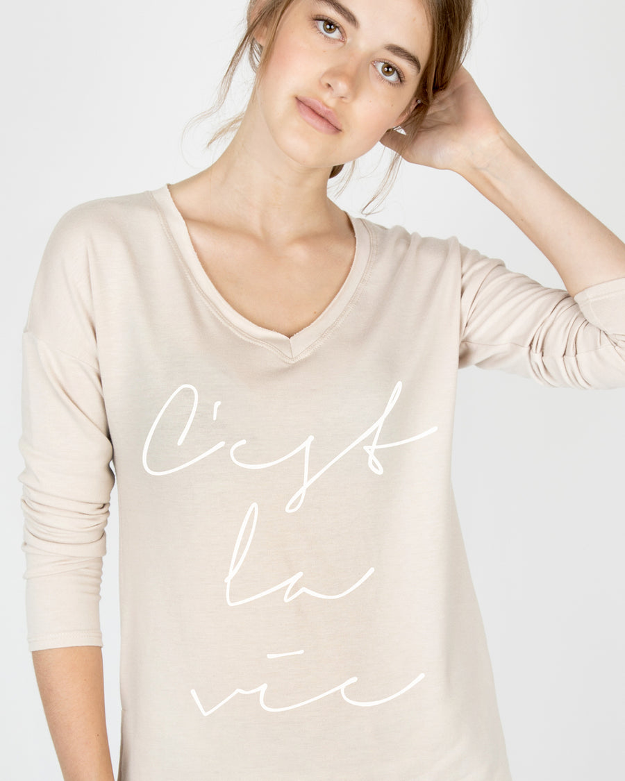 C'est la vie V-Neck Long Sleeve Tee