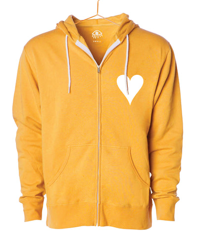 Golden heart Zip Up Hooded Sweater