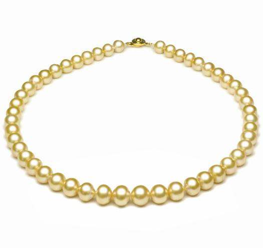 "18"" Golden South Sea Baroque Pearl Necklace, 8mm - 11mm, AA"