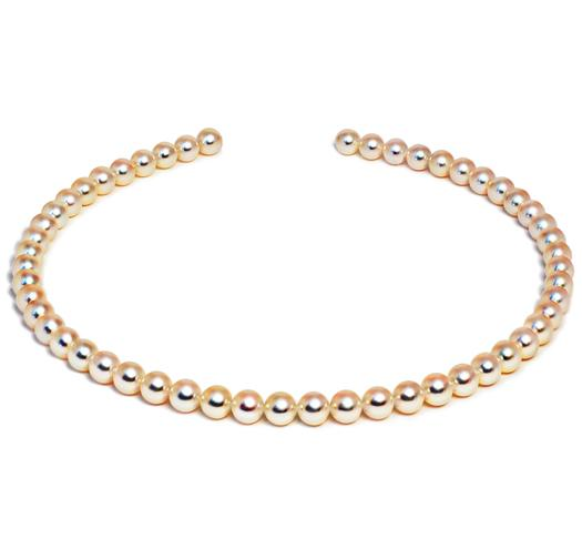 "18"" Hanadama Akoya Pearl Necklace Strand - 7mm - 7.5mm - 18 KT Gold Clasp"