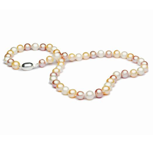 "18"" Multi Color Freshwater Pearl Necklace, 7mm - 8mm, Sterling Silver Clasp"