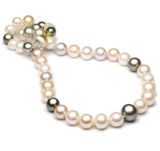 "18"" Multicolor Tahitian and Freshwater Pearl Necklace Strand, 7mm - 10mm, AA, 14 KT Gold"