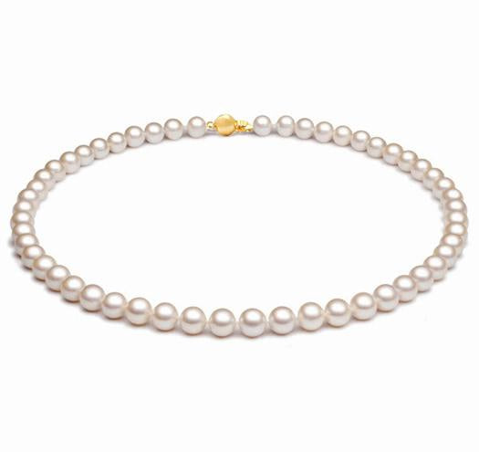 "18"" White Akoya Pearl Necklace Strand - 6.5mm - 7mm - 18KT Gold Clasp"