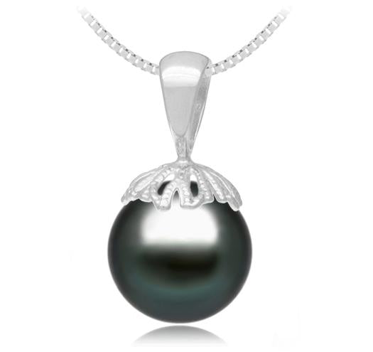 Black Tahitian Pearl Pendant - 9-11mm - 14KT Gold