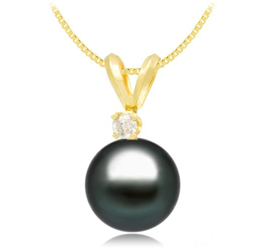 Black Tahitian Pearl Pendant - 9-11mm - AA+ - 14KT Gold with Diamond
