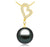 Black Tahitian Pearl Pendant - 9-13mm - AA+ - 18KT Gold with 21 Round Diamonds