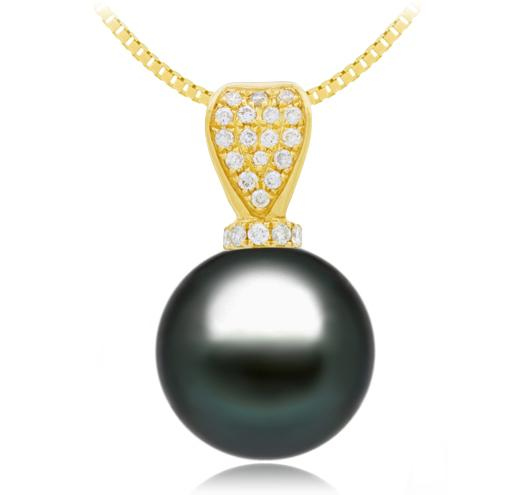 Black Tahitian Pearl Pendant - 9-13mm - AA+ - 18KT Gold with 22 Round Diamonds