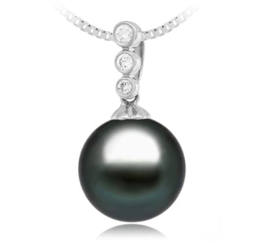 Black Tahitian Pearl Pendant - 9-13mm - AA+ - 18KT Gold with 3 Diamond Stones