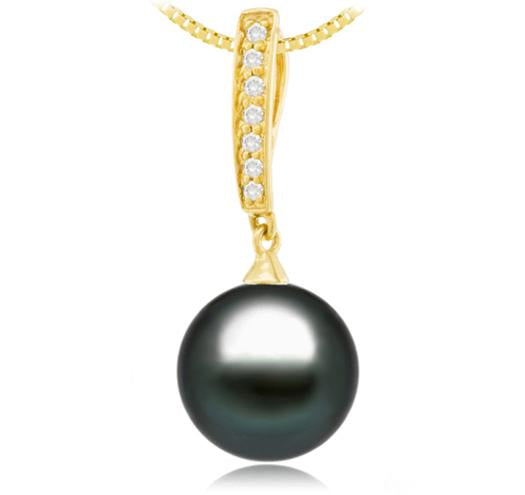 Black Tahitian Pearl Pendant - 9-13mm - AA+ - 18KT Gold with Diamond
