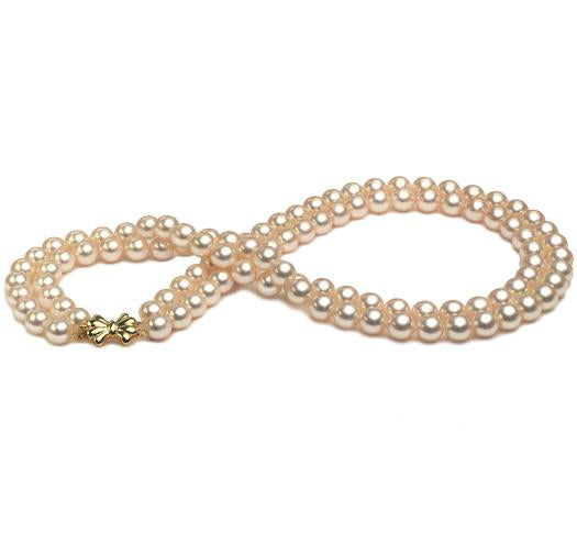 Double Strand Akoya Pearl Necklace, 6mm - 6.5mm, AA+, 14 KT Gold