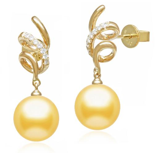 Golden South Sea Pearl Diamond Swirl Earrings - 10-13mm - AAA - 18KT Gold