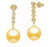 Golden South Sea Pearl Earrings - 10-13mm - 18KT Gold with Diamonds