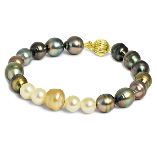 Multicolor South Sea, Tahitian and Freshwater Baroque Pearl Bracelet, 8mm - 10mm, AA, 14 KT Gold