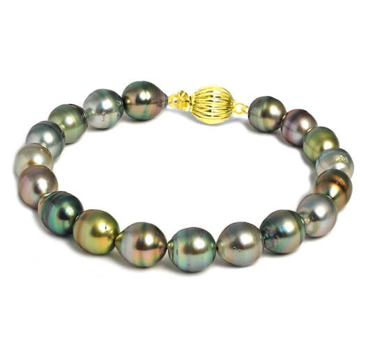Multicolor Tahitian Baroque Pearl Bracelet, 8.5mm - 9.5mm, AA, 14 KT Gold