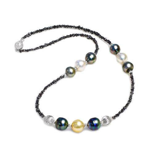 "18"" Tahitian and South Sea Pearl Necklace with Diamond Bead"