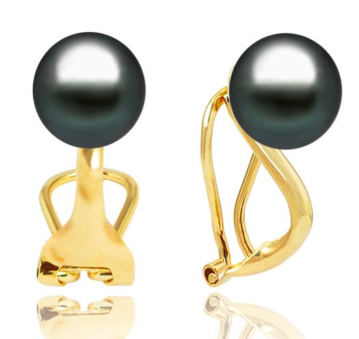 Tahitian Pearl Clip-On Earrings, 9-11mm, AA+ or AAA, 14KT Gold