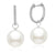 Akoya Pearl Diamond Hoop Earrings - 7-11mm - AA+ or AAA - 14KT White Gold with Diamonds
