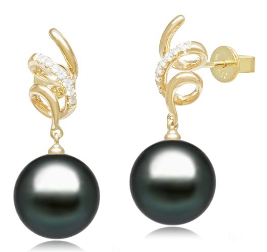 Tahitian Pearl Earrings - 9-11mm - AA+ or AAA - 18KT Gold with Diamonds