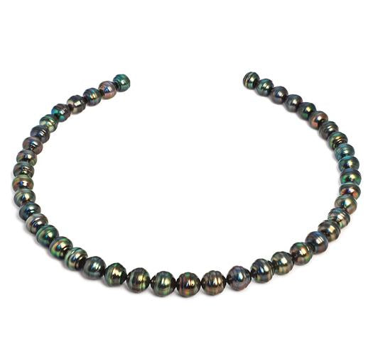 "18"" Tahitian Baroque Pearl Necklace, 8mm - 10mm, AA, 14 KT Gold"
