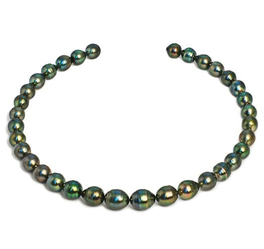 "18"" Tahitian Baroque Pearl Necklace, 9mm - 11mm, AA, 14 KT Gold"