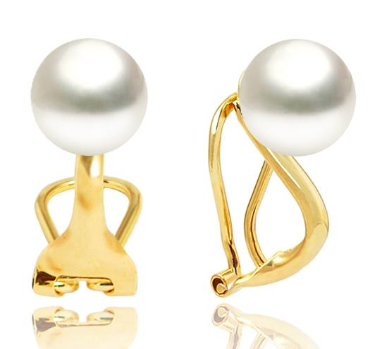 White South Sea Button Pearl Clip-On Earrings 10-11.5mm- AAA- 14KT Gold