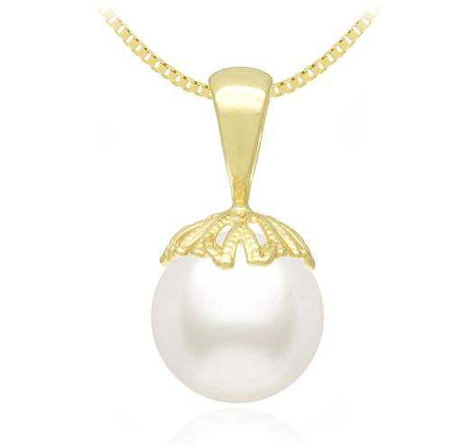 White South Sea Pearl Pendant - 8-13mm - AA - 14KT Gold