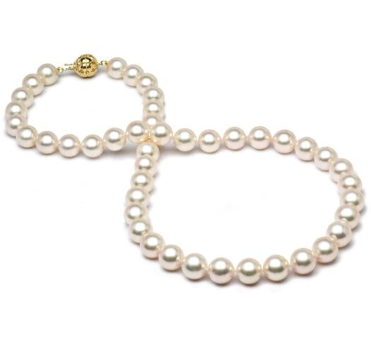 "18"" White Akoya Pearl Necklace Strand - 8.5mm - 9mm - AAA - 18KT Gold Clasp"