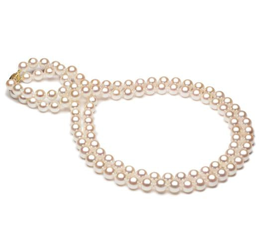 Double Strand Akoya Pearl Necklace, 7mm - 7.5mm, AA+, 14 KT Gold
