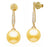 Golden South Sea Pearl Earrings - 10-11mm - 18KT Gold with Diamonds