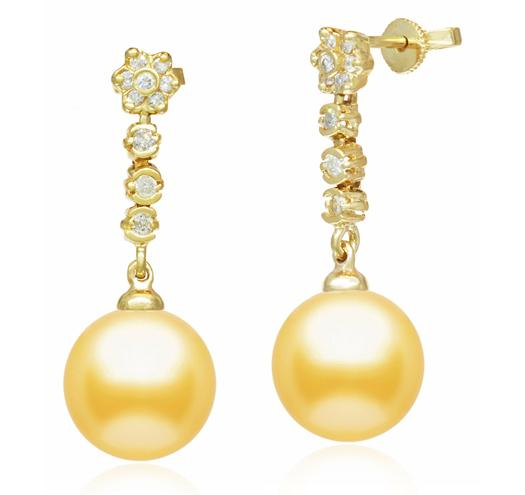 Golden South Sea Pearl Earrings - 10-13mm - 14KT Gold with Diamonds