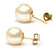 White South Sea Pearl Stud Earrings 8-12mm - 14KT gold