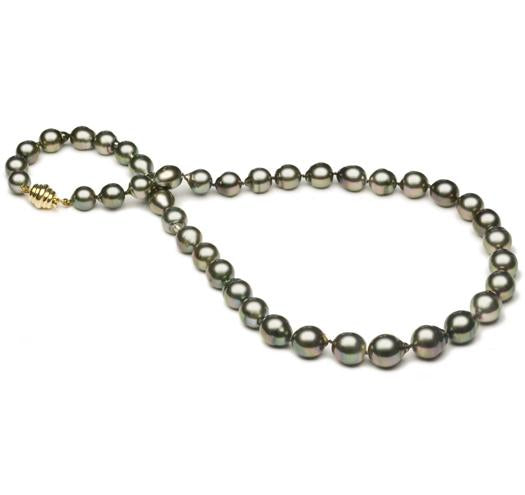"18"" Tahitian Baroque Pearl Necklace, 8mm - 11mm, AA, 14 KT Gold"