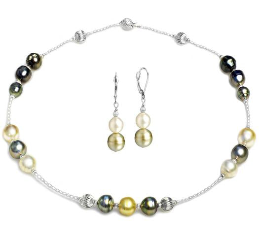 "18"" Tahitian and South Sea Pearl Earring and Necklace Set, 8.5mm - 11mm"