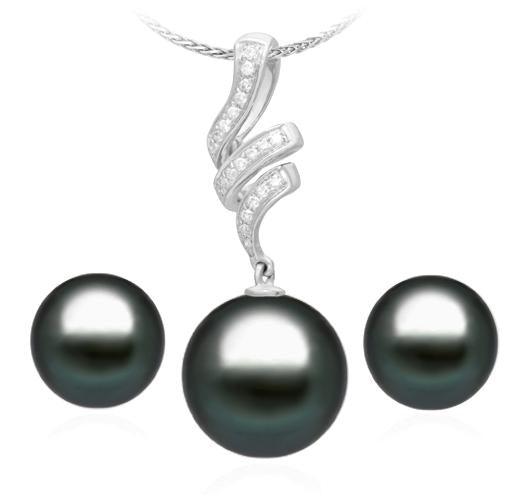 Set of Tahitian Pearl Pendant and Stud Earrings 8-9mm - AA - 18KT White Gold with Diamonds