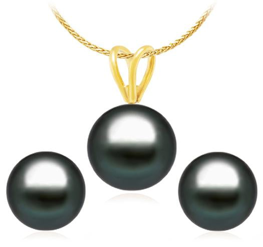 Set of Tahitian Pearl Pendant and Stud Earrings - 8-9mm - AA - 14KT Yellow Gold