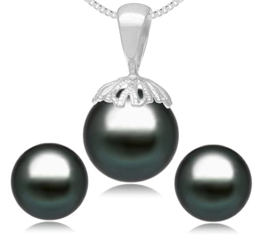 Set of Tahitian pearl Pendant and Stud Earrings, 8-9mm, AA, 14KT Gold