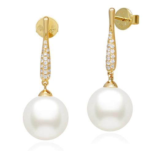 White South Sea Pearl Earrings - 8-11mm - 18KT Gold with Diamonds