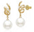 White South Sea Pearl Diamond Swirl Earrings - 8-11mm - 18KT Gold